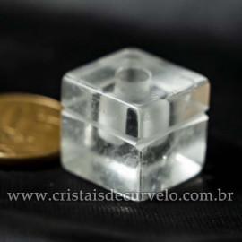 Pingente Pedra Cubo Cristal Difusor Aromaterapia Ranhurado