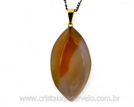 Pingente Navete Folha Agata Natural Pedra Natural Montagem Presilha Banho Dourado