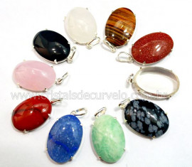 5 Pingente Cabochão Pedras Mistas Prata 950 Garra REFF PC8182