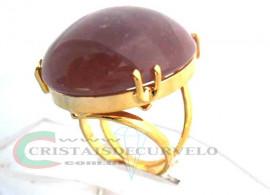 Anel Quartzo Goiaba Cabochão Oval Pedra Natural Montagem Banho Flash Dourado Aro Ajustavel