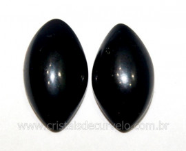 Par Navete Obsidiana Negra Natural Pra Brinco Reff NB4882