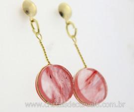 Brinco Disco Pedra Cherry Rosa Pino Tarracha Banho Ouro Flash