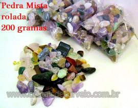 Pedra Rolado Misto Comum Pct 200Gr Várias Pedras Reff 109914
