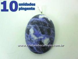 10 Pingente Cabochão SODALITA Pedra Natural Castoação Pino Banho Prata