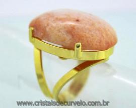 Anel Amazonita Rosa Cabochão Oval Pedra Natural Montagem Flash Dourado Aro Ajustavel