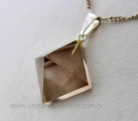 Pingente PIRAMIDE Pedra Cristal Fume Lapidação Facetado Manual Pino Prateado