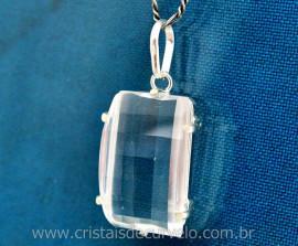 Pingente Retangulo Facetado Pedra Cristal Prata 950 Garras Reforçado REF 63.7