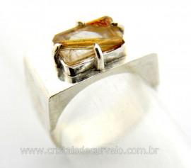 Anel Masculino Cristal Rutilo Prata Ajustavel Reff AM5228