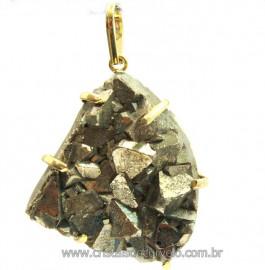 Pingente Drusa Pirita Extra Pedra Natural Montagem Envolto Dourado cod PP7290