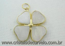 Pingente Trevo Quartzo Leitoso  Pedra Natural Envolto Banho Dourado