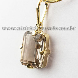 Pingente Pedra Fume Baguette Facetado na Garra Dourada 112533