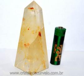 Obelisco Cristal Hematoide Pedra Natural Com Rajas Cod OH4533