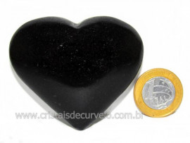 Coração Quartzo Preto Quartzito Negro Pedra Natural Cod CP1135
