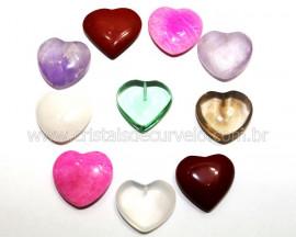 10 Coração Pedras Mistas Furado Pra Montagem 23x25mm REFF CF9459
