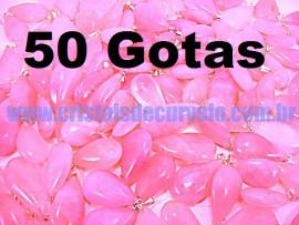 50 Gotas Rosa Pedra Quartzo Pingente Banhado Prata