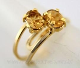 Anel 2 Pedras Citrino Gemas Facetado Aro Dourado Ajustavel REF 16.6