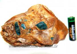 Canudo Apatita Azul Incrustado na Matriz Feldspato Cod 110092