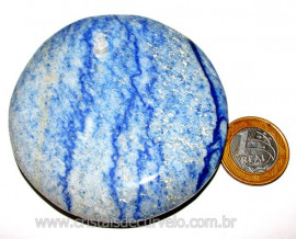 Massageador Disco Quartzo Azul Pedra Natural Cod 103316