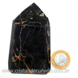 Ponta Onix Preto Pedra Natural Gerador Sextavado Cod 128911
