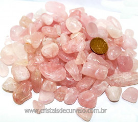 Quartzo Rosa Natural Rolado Pequeno Pct com 1kg Reff 111279