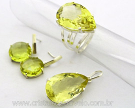 Conjunto Anel Brinco e Pingente e Corrente Pedra Green Gold Natural Montagem na Garra 950 Reff 78.5