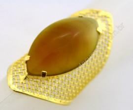 Anel Tela Pedra Agata Verde Navete Armação de Luxo Elegante Ajustavel Dourado  AC1086