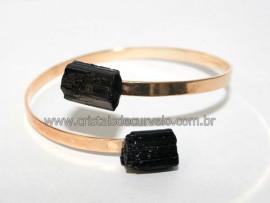 05 Bracelete de Turmalina Preta Ajustável Dourado Reff BT68621