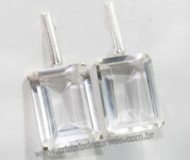 Brinco Retângulo Facetado Cristal Garra Prata 950 REFF BP3217