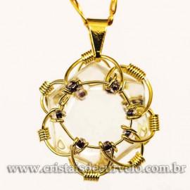 Pingente Estrela de Davi Pedra Cristal Mandala Banho Dourado