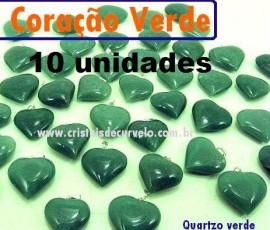 10 Coração VERDE Pedra Quartzo Pingente Banhado Prata