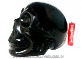 Crânio Obsidiana Negra Caveira Esculpido Skull Stone Cod CO3129
