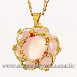 Pingente Estrela de Davi Pedra Quartzo Rosa Mandala Banho Dourado