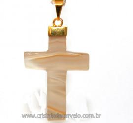 Crucifixo Agata Clara Pingente Cruz Pedra Natural  Banho Flash Dourado