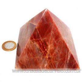 Pirâmide GRANDE Pedra Aragonita Vermelha Natural Queops 119027