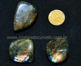 03 Labradorita ou Spectrolite Rolado Pedra Natural De Garimpo Esoterismo Colecionador Ref 57.4