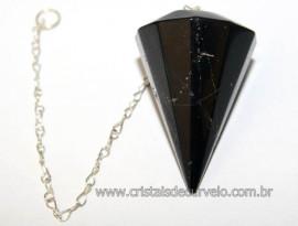Pendulo Onix Preto Facetado Pedra Natural  Brinde Corrente PO5678