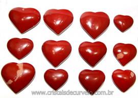 10 Coração Pedra Jaspe Vermelho Natural 4.7 a 6.5cm ATACADO