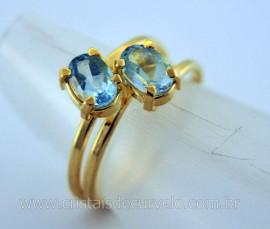 Anel 2 Pedras Topazio Azul Gemas Facetado Aro Dourado Ajustavel Cod 15.7