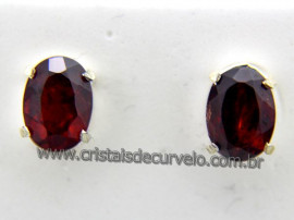 Brinco Prata 950 Pedra Granada Rubelita Oval Facetado Tarracha REFF BT6621