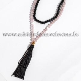 Terço Japamala Pedra Quartzo Rosa e Obsidiana Preta 6mm 108 Contas