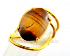 Anel Olho de Tigre Cabochão Oval Pequeno Dourado REFF CP4123