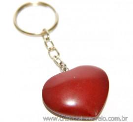 Chaveiro Coração Jaspe Vermelho Pedra da Saúde Reff 108009