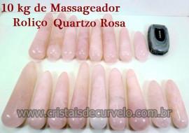 10 kg Massageador Cristal Quartzo Rosa Roliço Massagem Terapeutica Com Pedras
