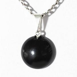Mini Pingente Disco Obsidiana Negra 12mm Pedra Natural Prateado