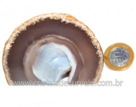 Geodo Ágata Chapa Lapidado Pedra Natural Garimpo Cod 121385