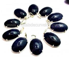5 Pingente Cabochão Pedra Estrela Prata 950 Garra REFF CP8162