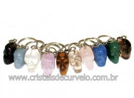 10 Chaveiro Crânio Pedras sortidas Caveirinha ATACADO
