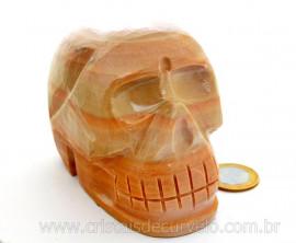 Cranio Pedra Dolomita Marrom Natural Caveira Esculpido Skull Stone Cod CM971.6