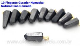 10 Pingente Pontinha Atacado Pedra Hematita Presilha e Pino Dourado
