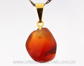 Pingente Pedrinha Agata Cornalina Rolado Mineral Natural Montagem Dourado